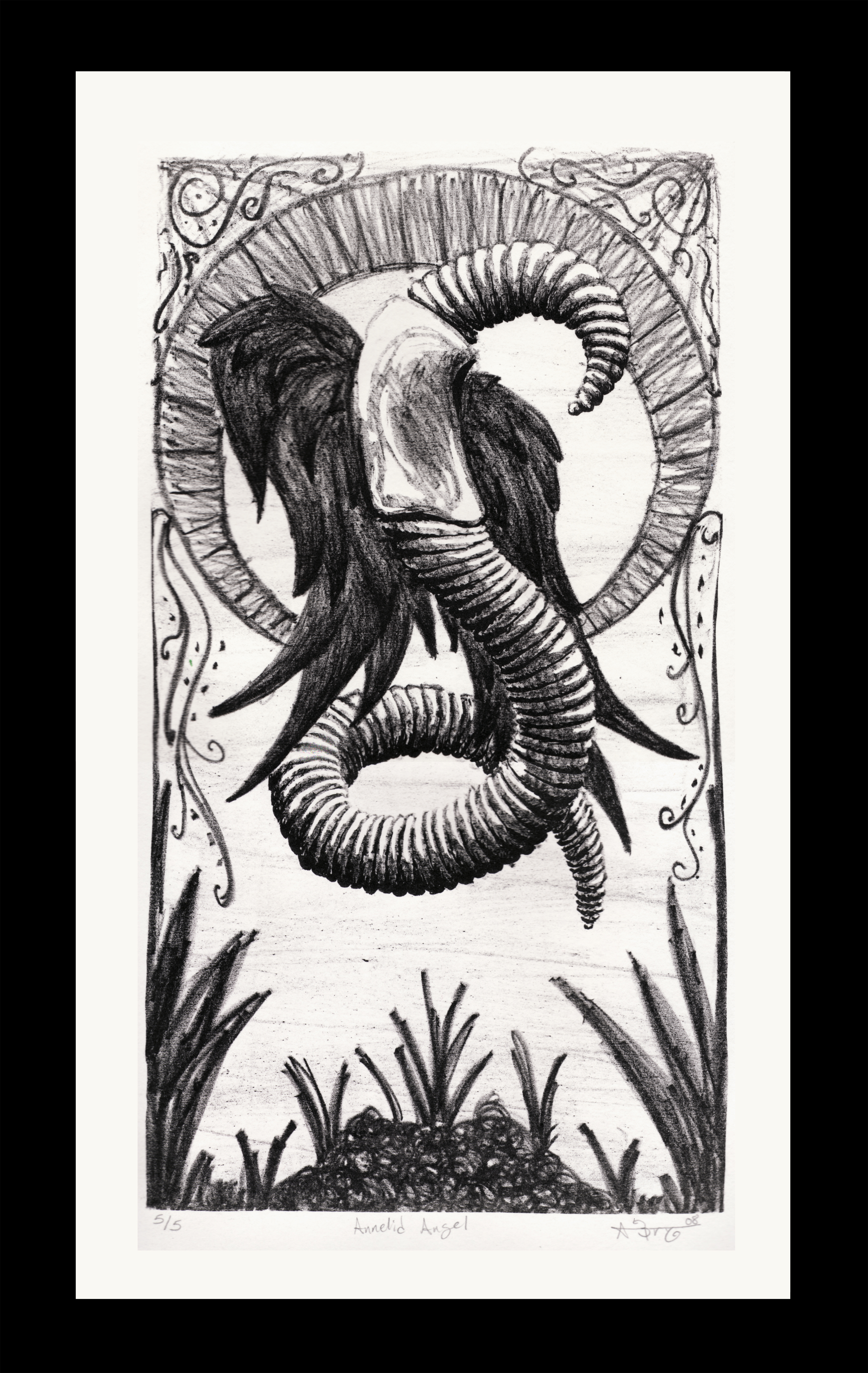 litho angel worm print